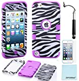 iPod Touch 5th 6th Generation Case, iPod Touch 5/6 Case Genuine ZAFOORAH Hybrid Shockproof Hard Defender 3 Layers with 3 Bonus items Stylus, Screen Protector, Microfiber Cloth (Zebra - 3 Layers - Purple)
