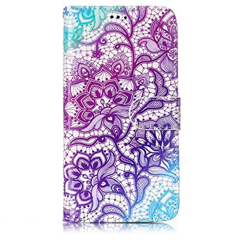 Motorola Moto G5 Hülle, Chreey Premium PU Leder Tasche Klapphülle 3D Muster Kreatives Design Brieftasche Handyhülle mit Magnet Kartenfächer Standfunktion Schutzhülle Bumper Etui [Lila Blume]