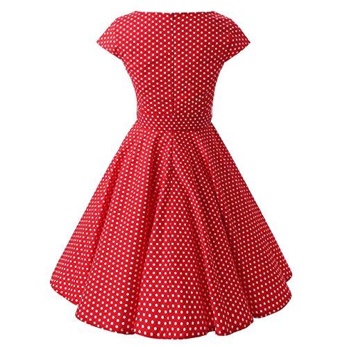 YAZACO Damen 1950er Vintage Polka Dot Cap Sleeve Kleid Rockabilly Faltenrock Cocktailkleid Abendkleider Partykleid Rot 02