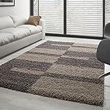 Carpettex Teppich - Hochflor Langflor Wohnzimmer Gala Shaggy Teppich Florhöhe 3cm Mehrfarbig - Taupe-Beige, 120x170 cm