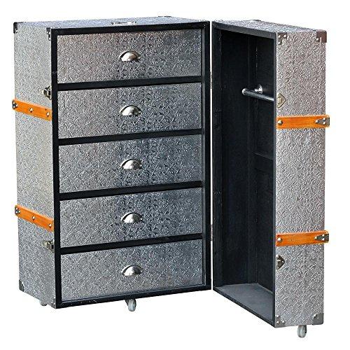 metal-argente-en-relief-grande-bagages-trunk-avec-tiroirs-sur-roulettes