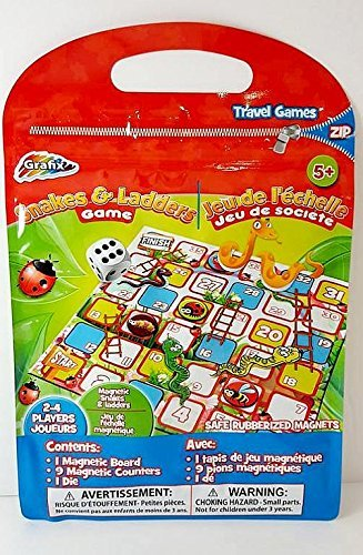 Graxis Snakes & Ladders Travel Game Road Trip Magnetic Board Kid Toy Pack