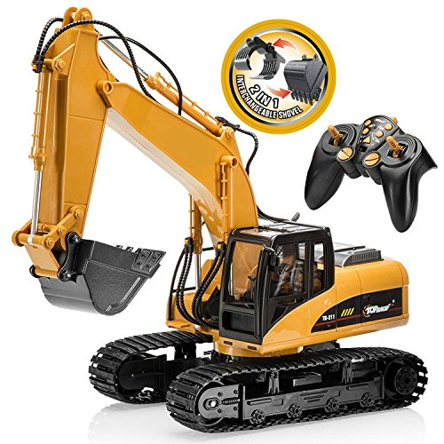 TopRace 15 Channel Full Functional Remote Control Excavator Construction Tractor, Excavator Toy with 2.4Ghz Transmitter 2 in 1 with Interchangeable shovel TR-215/211