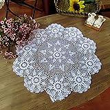 ustide handgefertigt Crochet Hohl Tischsets, baumwolle, weiß, 23.6 inch (60cm)