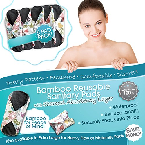 Bamboo-Charcoal-Reusable-Sanitary-Pads-X-5-with-HEAVY-Flow-Absorbency-Layer-and-Size-The-Smartest-New-Way-to-Avoid-Leaks-Odors-and-Staining-Save-Hundreds-of-Dollars-and-Massive-Amounts-of-Landfill-Was