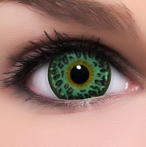 Circle Lenses grüne 'Wild Green' ohne Stärke + Kombilösung + Behälter Big Eyes 15mm farbige Kontaktlinsen (Wilde Kontaktlinsen)