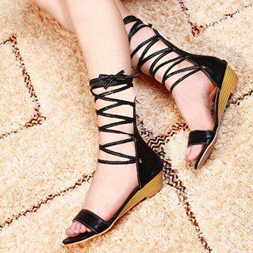 Abertos Mulheres Sapatos Dimensões Mar Cinto Sandálias Grandes De Pretos Cunha Verão Dedo Glter De Mulheres Encantadora S7O565