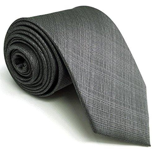 Shlax&Wing Neu Extra lang Herren Seide Geschäftsanzug Krawatte Grau Einfarbig Dünne Krawatte 2.36