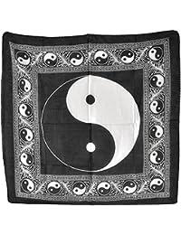 echarpe cheche Yin Yan Ying Yang 100x100cm Om Mala Tibet tour de cou
