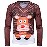 Yazidan Männer Weihnachten Weihnachten Hirsch 3D-Druck mit Blumen Oben Lange Ärmel Oberteile Basic Bluse T-Shirt Mode Gentleman Sweatshirt Herbst Winter Outfits Farbblock Outwear(Braun,XL)