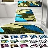 Design Badematte | rutschfester Badvorleger | viele Größen | zum Set kombinierbar | Öko-Tex 100 zertifiziert | viele Muster zur Auswahl | Blätter - Grün - Blau (50 x 80 cm)