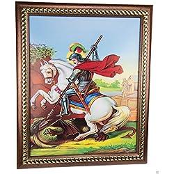 """Marco San Jorge y el dragón pared cuadro rellenado Tierra Santa de placa 11,4"""""""