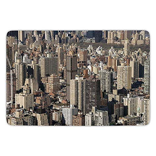 Bathroom Bath Rug Kitchen Floor Mat Carpet,United States,Aerial New York City Famous Town of the World North American Capital Image Decorative,Beige Tan,Flannel Microfiber Non-slip Soft Absorbent (United Halloween-town States)
