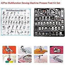 Juego de 42piezas multifunción de pies prensatelas para máquina de coser doméstica: trenzado, zurcido, puntada ciega.