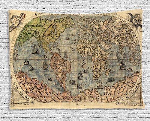 cbec0e352782 Ambesonne antico Decor Collection, antica mappa del mondo globale storia  Stained Paper oceani Lands Atlas