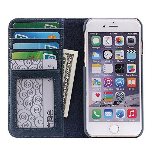 Étui de portefeuille en cuir folio de téléphone portable avec [béquille] [fentes pour cartes] [fermeture magnétique] Flip book housse pour Apple iPhone6/6S Brown Blue