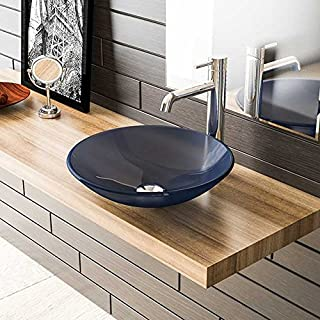 Blue Glass Wash Basin Ø 46 cm/Guest Bathroom Wash Basin and Sink Base Cabinet/Glass Bowl/