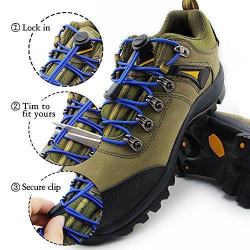 2 Paare HOMAR Sport Schnürsenkel für Kinder und Erwachsene - Reflektierend Schuhband Runde Nestel für Sneaker Rennschuh Stiefel Blau