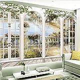 Guyuell Benutzerdefinierte 3D Stereo Fenster Ansichten Garten Pool Fototapete Wohnzimmer Bettwäsche Zimmer Landschaft Wand Dekor Geprägte Papiertapete-120Cmx100Cm