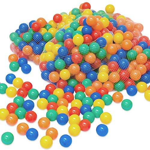 LittleTom 200 Bällebadbälle Ø 6cm Bälle-Set für Bällebad Bunte Spielbälle Kinder-Bälle für Bällebad-Pool Plastikbälle Babybälle | 5 gemischte Farben Gelb Rot Blau Grün Orange | geprüfte Qualität