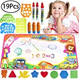 Water Drawing Pad, Defrsk Water Drawing Mat for Toddlers Water Doodle Mat 35.4 * 23.6 Inch Water Drawing Pad with 6 Multicolor Water Pens and 8 Molds