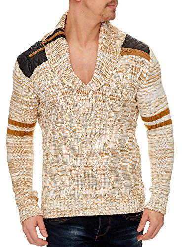 TAZZIO Herren Styler Strick-Pullover 16402 Ecru