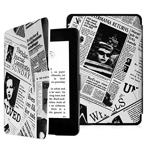 Fintie Hülle für Kindle Paperwhite - Die dünnste und leichteste Schutzhülle mit auto Sleep/Wake Funktion (Nicht geeignet für das Modell der 10. Generation 2018), Zeitung