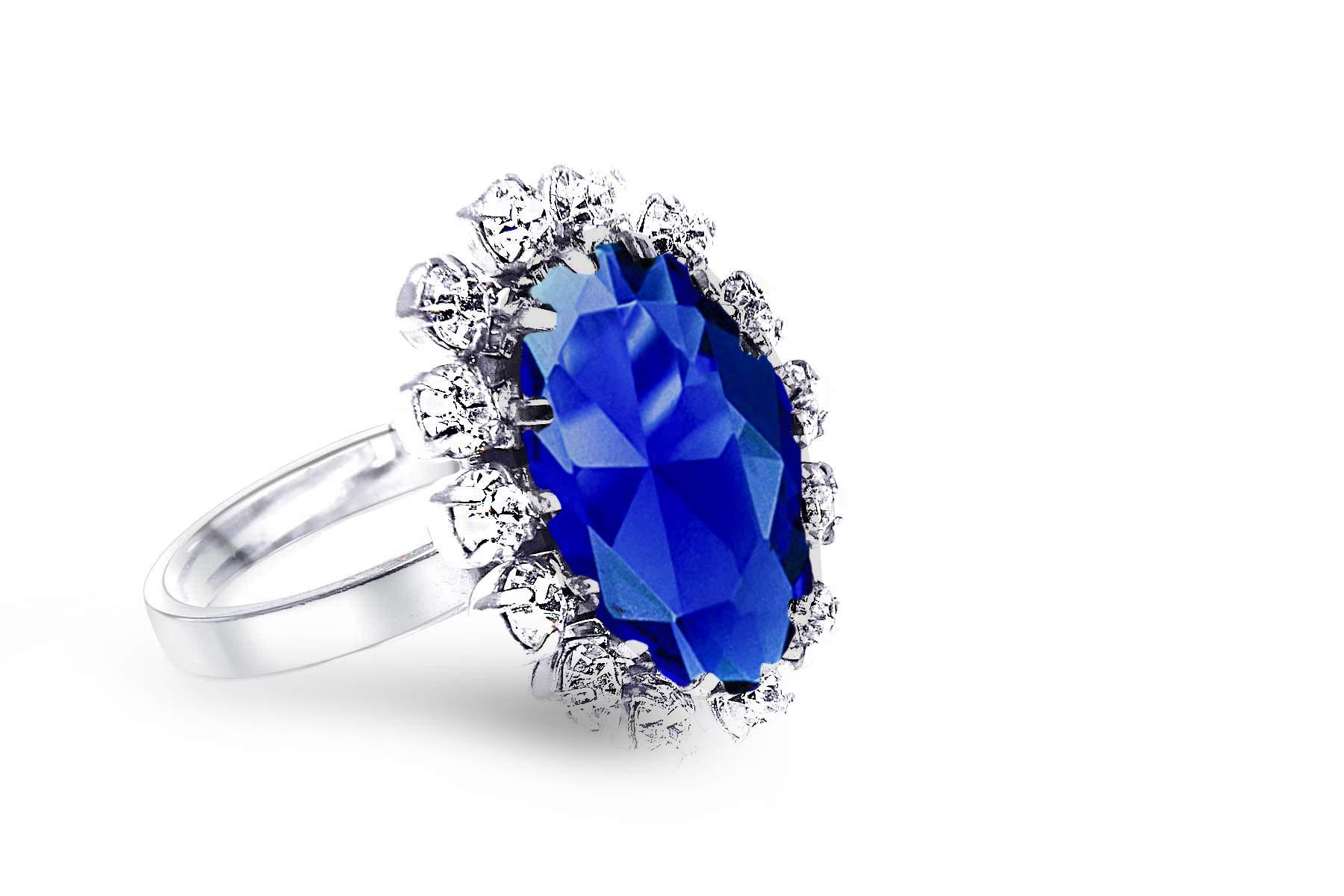 a4a25a5ddd Queen24 Anello di fidanzamento Swarovski – Argento – Palladio cristallo  zaffiro fatto a mano – Anello regolabile – Anello da donna anello anello  anello da ...