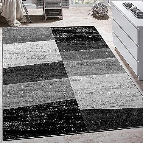 Tapis 160 X 160 Blanc - Tapis Design Moderne Abstrait Effet Carreaux Poils