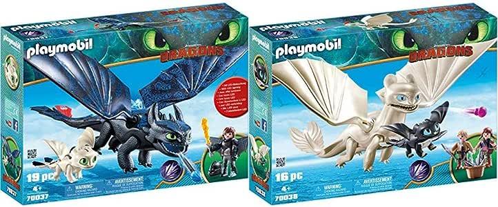 Playmobil 70037 - Ohnezahn und Hicks mit Babydrachen & 70038 - Tagschatten und Babydrachen mit Kindern