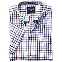Slim Fit Button-Down Non-Iron Poplin Short Sleeve Red Multi Check Cotton Shirt Single Cuff by Charles Tyrwhitt