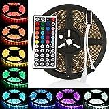 LEDMO led streifen stripes RGB 5m,lichtband band IP65 wasserdicht,strip Lichtleiste SMD5050(300 LEDs) 16 Farben auswählbar, inkl. 24 Tasten IR-Fernbedienung, Controller