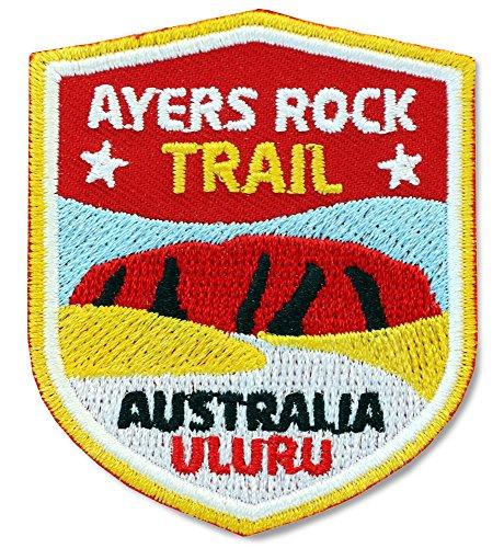ichen 51 x 60 mm / Australien, Ayers Rock Trail, Uluru / Applikation Aufnäher Aufbügler Bügelbild Patch / für Kleidung Rucksack / Reise Wandern Klettern Tour Karte Kompass (Zeichen-buch-taschen)
