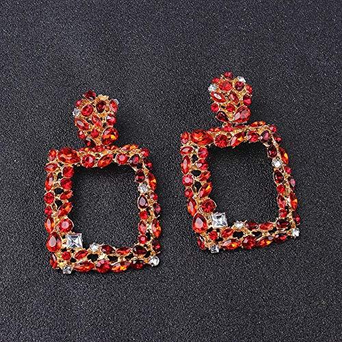 Qinlee Quadrat-Tropfen-Ohrring-Kristall Geometric Retro Vintage Art Kreative für Frauen Frauen Drop Ohrringe große geometrische Anhänger Ohrringe Statement Schmuck weibliche -Weiß