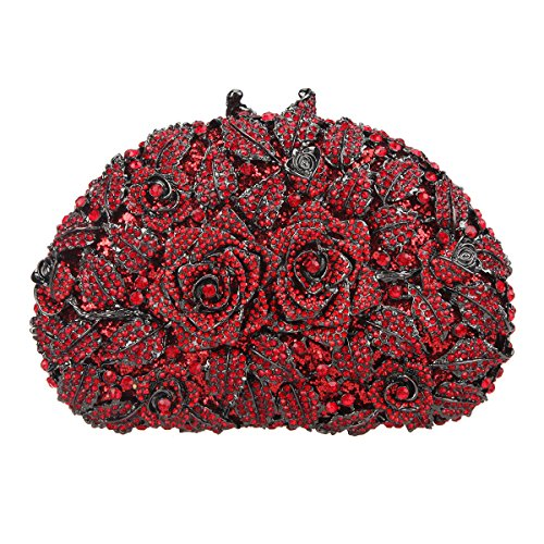 Bonjanvye Glitter Studded Rhinestone Rose Clutch Purse for Wedding Party Red - Red Clutch Crystal