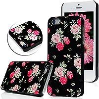 YOKIRIN Case Cover für iPhone SE 5 5G 5S Hülle Metall Aluminium und PC Hardcase Rosa Rose Blume Flower Muster bei Schwarz Hintergrund Design Schutzhülle mit Staubstecker und Kapazitiven Feder