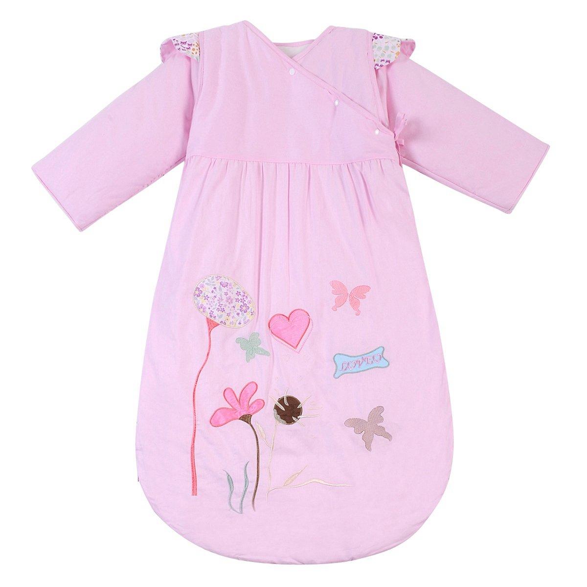 Happy Cherry – Saco de Bebés Niños de Dormir Larga Manga Manta de Algodón – Flor de Loto – Rosa – 90cm, 6 meses – 2 años(Grueso)