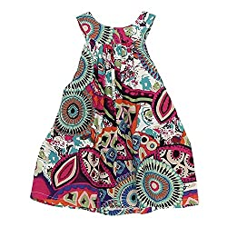 Girl Princess Dress, Transer® Baby Girls Party Dress Kids Clothes 1-7 Years Toddlers Swing Dress Cotton Flowers Printed Wedding Dresses