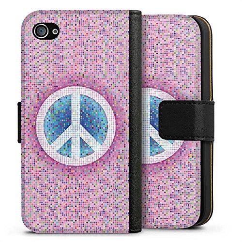 Apple iPhone X Silikon Hülle Case Schutzhülle Peace Hippie Frieden Bunt Sideflip Tasche schwarz