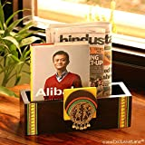 #9: ExclusiveLane Teak Wood Wall Cum Table Magazine & Newspaper Stand With Dhokra Art - Magazine Holder Rack Stand Newspaper Basket Table Organizer Book Shelves Newspaper Holder Office Desk Décor Accessories