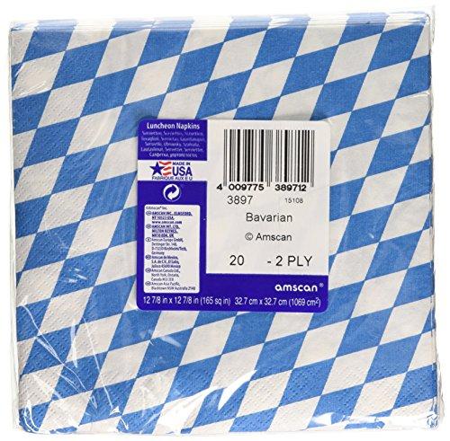 Amscan International Bayerische Servietten, 33cm, Blau / Weiß