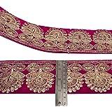 tela rosa recortar 8,1 cm de ancho frontera sari decortive frontera del cordón del ajuste por el patio