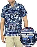 LA LEELA Shirt Camicia Hawaiana Uomo XS - 5XL Manica Corta Hawaii Tasca-Frontale Stampa Hawaiano Casuale Regular Fit Blu Reale1169 M