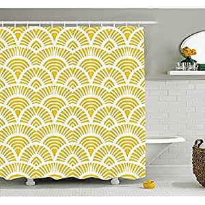Mustard shower curtain by yeuss vintage shabby chic for Mustard bathroom accessories uk