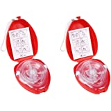 CPR Beatmungsmaske mit Filter,Lifesport 2 Stück CPR Tasche Rescue Maske mit aufgedruckter Ersthelfer-Anleitung und Transportb
