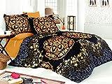 Bettwäsche Set Retro Queen 3Stück Baumwolle Leinen schwarz gold indischen Satin Bettwäscheset, Bettbezug Ägyptische Oriental Sultan Vintage Ethnische afrikanischen Nahen Osten Mandala Leben Baum Luxus Leaf Pfau Elegant