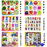 WISHKEY Wooden Educational Colorful Fruits, Numbers, Geometric Shapes, Animals,Vehicles, Alphabet - Set of