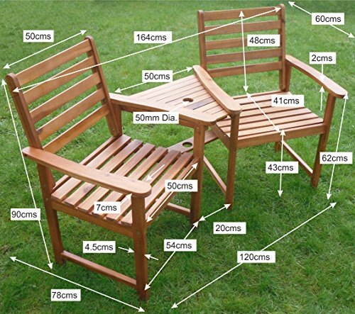 Ascot Hardwood Companion Seat Corner Love Seat Garden Bench Tete Tete Set Jack and Jill Exclusively by Your Price Furniture