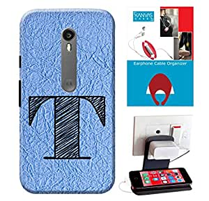 Motorola Moto G3 Accessories Combo, Premium Quality Designer Printed 3D Lightweight Slim Matte Finish Hard Case Back Cover for Motorola Moto G3 + Free Earphone Cable Organizer + Mobile Charging Holder/Stand