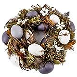 Kranz Eier Federn Blüten Deko grün-natur Ostern Tischdeko (26x26cm)